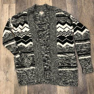 Mossimo Black White Open Front Cardigan Sweater